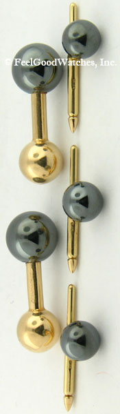 Tiffany & Co. Cufflinks & Studs Set, 14 kt Yellow Gold & Hematite