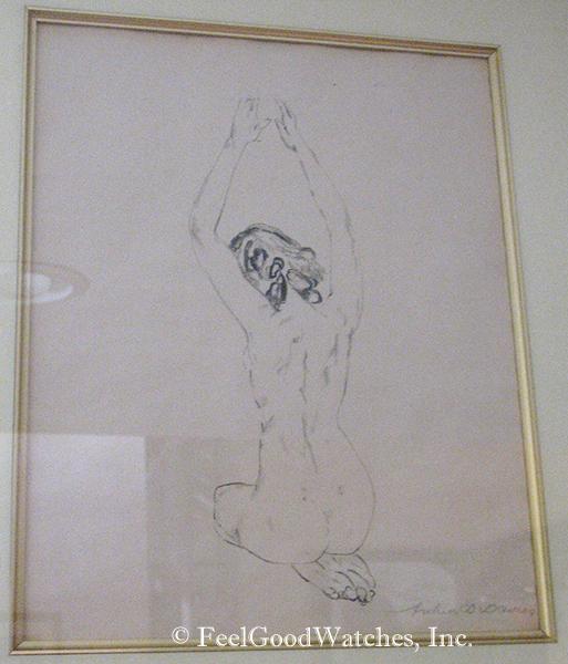 Arthur B. Davies Seated Nude Pencil Sketch