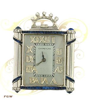 C.H. Meylan Ladies' Purse or Pendant Watch, Platinum, Diamonds & Sapphires