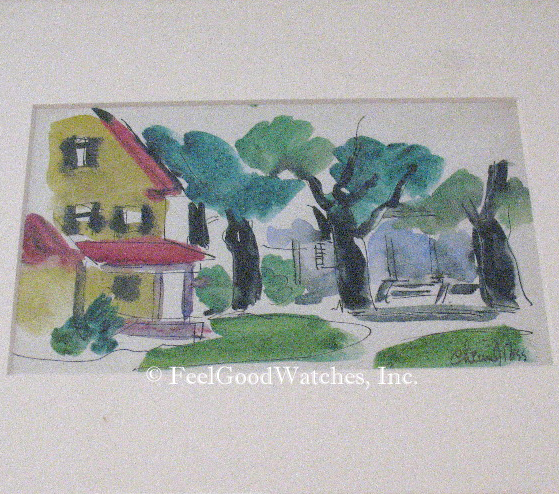 Chaim Gross Original Watercolor of Two Houses, Undated