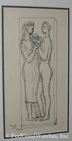 Francisco Zuniga Original Ink Sketch, ca. 1962