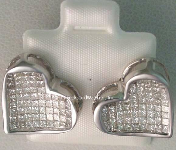 Ladies' 14 karat White Gold Diamond Heart Earrings