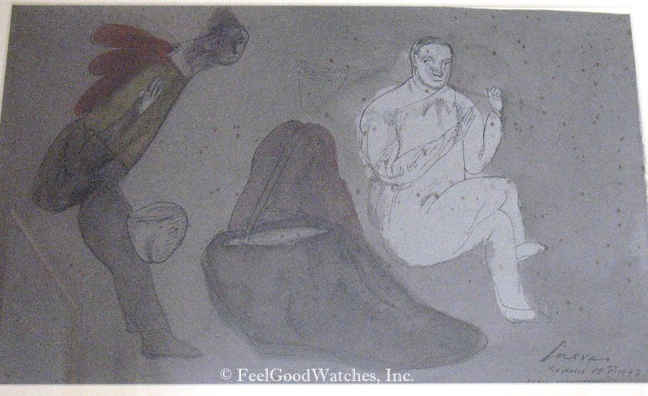 """Jose' Luis Cuevas """"Doble Autorrotado"""" Original Watercolor, ca. 1"""