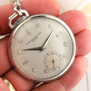 Patek Philippe Platinum Pocket watch diamond markers with Platinum Chain Rare collectable !