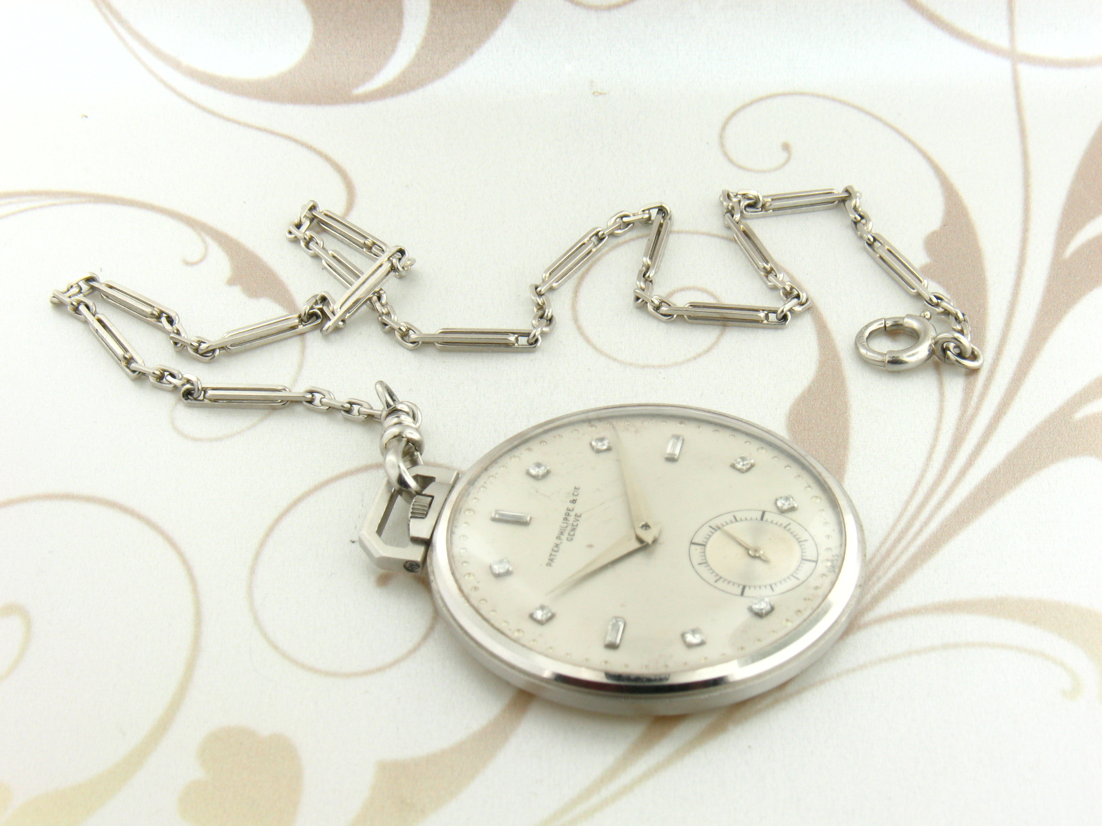 Patek Philippe Platinum Pocket watch diamond markers with Platinum Chain Rare collectable !