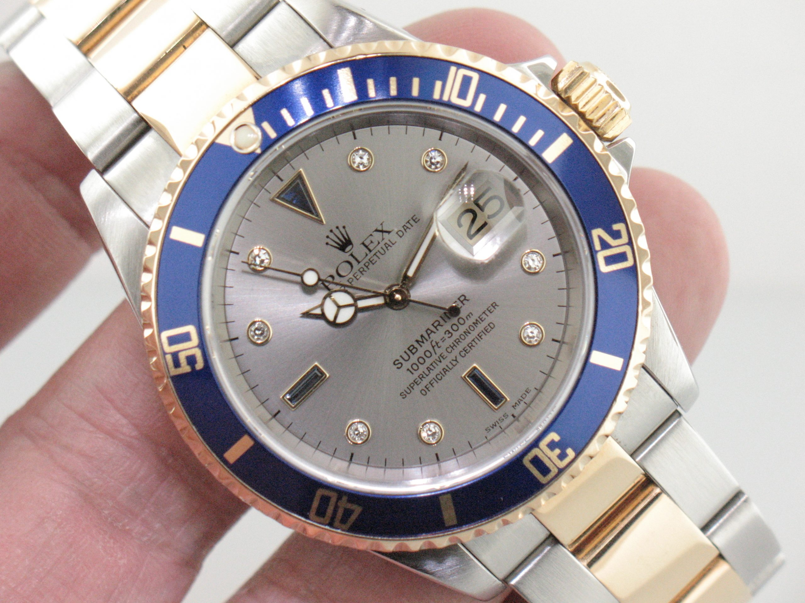 Rolex 2-Tone Submariner Ref. 16613 Diamond Dial Men's Watch Yr. 2000